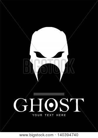Warrior. Phantom. Ghost. White skull on black background.