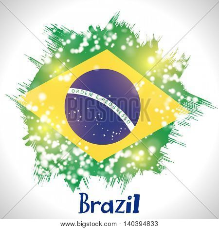 Creative illustration of Brazil Flag on shiny background, Can be used as Poster, Banner or Flyer design.