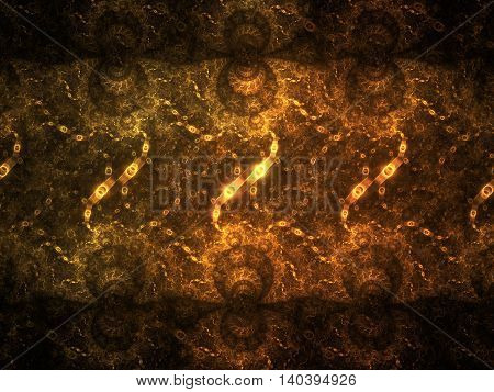 Swirly ornament. Abstract symmetric golden background. Fantasy fractal texture in orange and yellow colors. Digital art. 3D rendering.