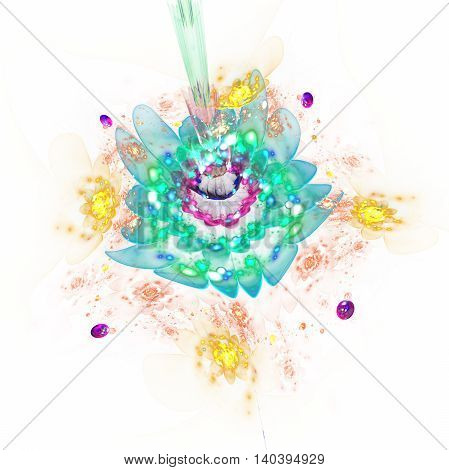 Abstract colorful flowers on white background. Fantasy composition in yellow green blue and pink colors. Fractal design for posters wallpapers or t-shirts. Digital art. 3D rendering.