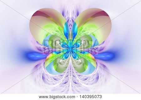 Abstract flower on white background. Symmetrical pattern in purple blue and light green colors. Fantasy fractal design for posters wallpapers or t-shirts. Digital art. 3D rendering.