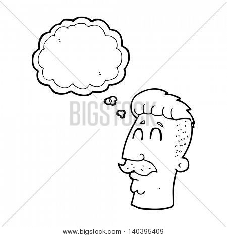 freehand drawn thought bubble cartoon man with hipster hair cut