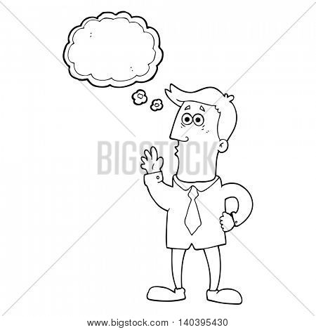 freehand drawn thought bubble cartoon businessman
