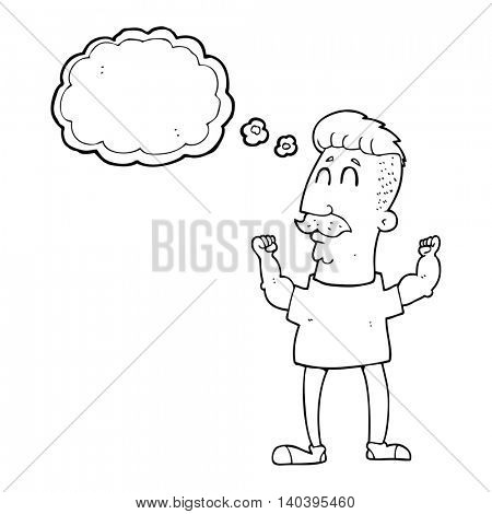 freehand drawn thought bubble cartoon celebrating man