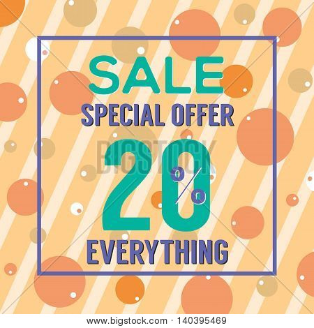 Special Offer 20 Percent On Colorful Orange Bubbles And Stripes Vector Illustration. EPS 10