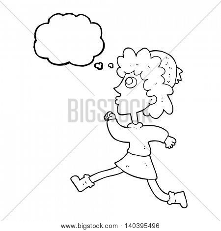 freehand drawn thought bubble cartoon running woman