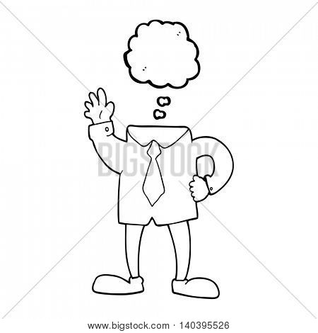 freehand drawn thought bubble cartoon headless businessman