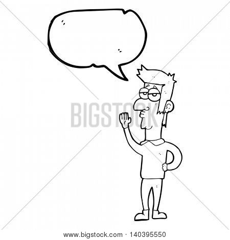 freehand drawn speech bubble cartoon man waving
