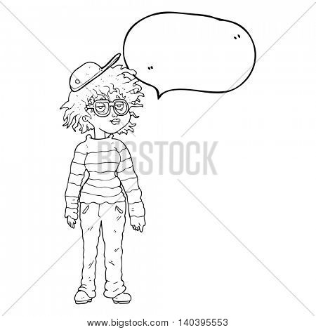 freehand drawn speech bubble cartoon geeky girl