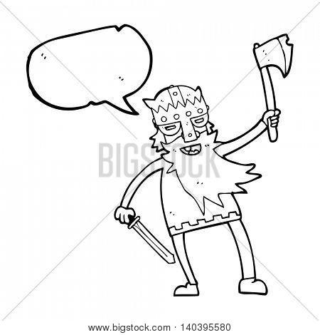 freehand drawn speech bubble cartoon viking warrior