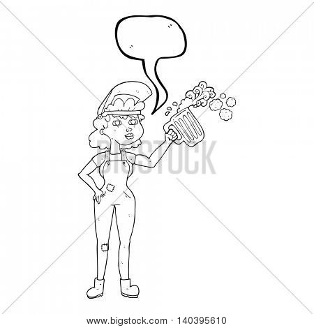 freehand drawn speech bubble cartoon hard working woman with beer