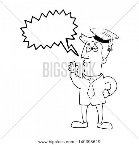 freehand drawn speech bubble cartoon graduate