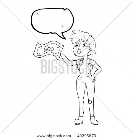 freehand drawn speech bubble cartoon confident farmer woman with money