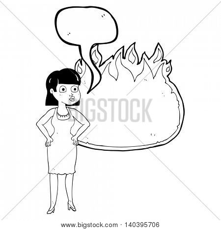 freehand drawn speech bubble cartoon woman in dress with hands on hips and flame banner
