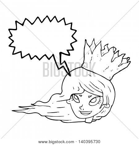 freehand drawn speech bubble cartoon woman with blowing hair