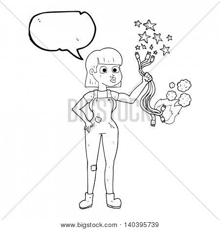 freehand drawn speech bubble cartoon female electrician