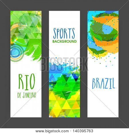 Creative Website Banner set decorated with Brazilian Flag colors abstract design for Sports concept.