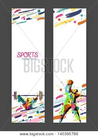 Creative Website Banner set with illustration of weight lifter and basketball player, Vector illustration for Sports concept.