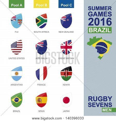 Rugby Sevens Men Summer Games 2016 in Brasil. All Pools All Flag. Vector Illustration.