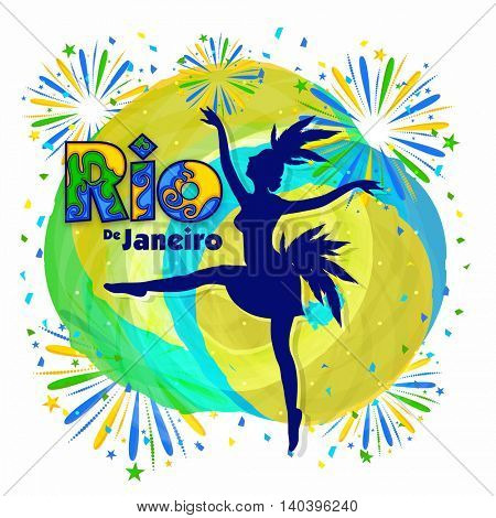 Creative illustration of Samba Dancer and Stylish Text Rio de Janeiro on Brazilian Flag colors abstract background, Stylish Poster, Banner or Flyer design for Carnival or Party celebrations.