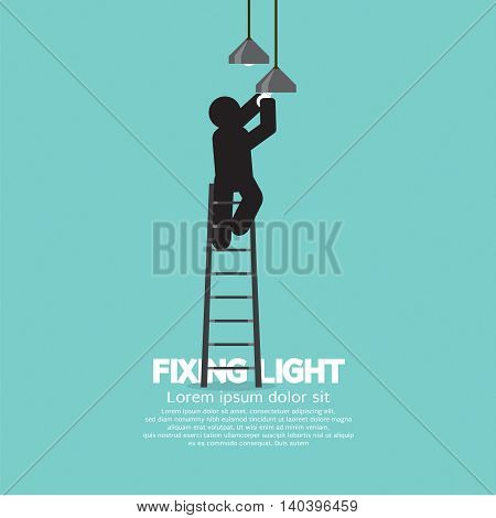 Black Symbol Person On Stepladder Change Ceiling Light Vector Illustration. EPS 10
