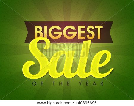 Biggest Sale of the Year, Typographical rays background, Creative Poster, Banner or Flyer design, Vector illustration.