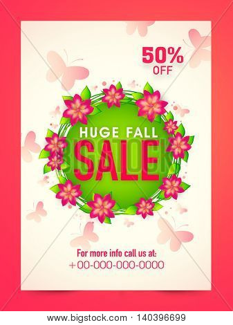Huge Sale Poster, Sale Banner, Sale Flyer, 50% Off, Creative vector illustration decorated with beautiful flowers.