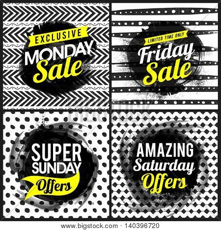 Set of Sale Poster, Banner or Flyer design, Creative four typographical background with different hand drawn patterns, Vector illustration.