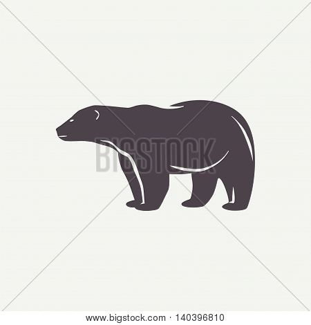 Polar bear symbol. Animal silhouette in vector