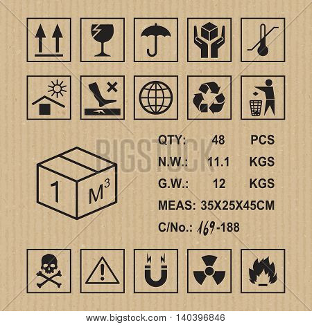 Cargo symbols on cardboard texture. Handling, packing and caution signs