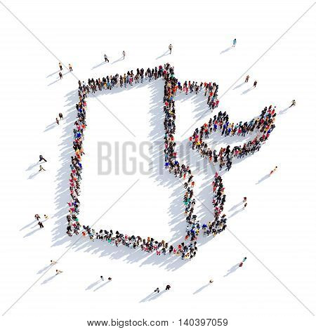 Large and creative group of people gathered together in the shape of a folder. 3D illustration, isolated against a white background. 3D-rendering.