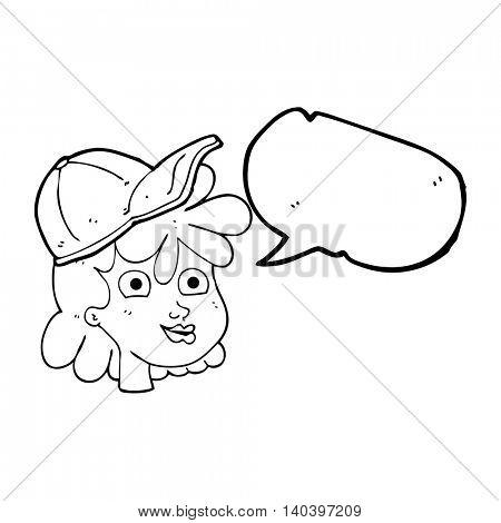 freehand drawn speech bubble cartoon woman wearing cap