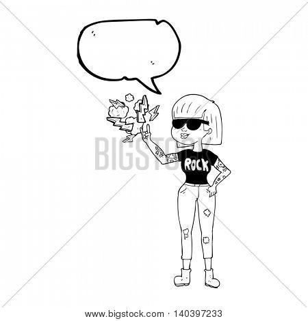 freehand drawn speech bubble cartoon rock woman