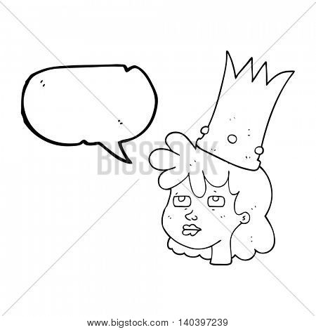 freehand drawn speech bubble cartoon queen with crown