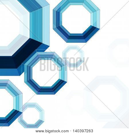 Creative abstract pattern with blue geometric elements on shiny background.