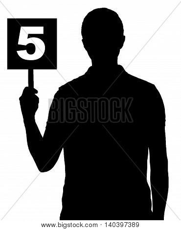 silhouette man holding black table with number five