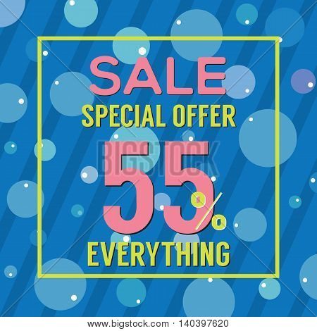 Special Offer 55 Percent On Colorful Blue Bubbles And Stripes Vector Illustration. EPS 10