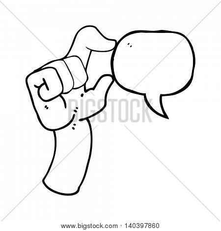 freehand drawn speech bubble cartoon hand making smallness gesture