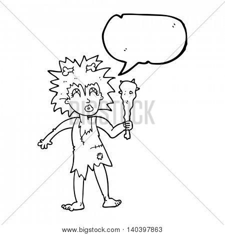 freehand drawn speech bubble cartoon cave woman