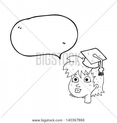 freehand drawn speech bubble cartoon woman wearing graduate cap