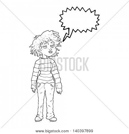 freehand drawn speech bubble cartoon chilled out girl