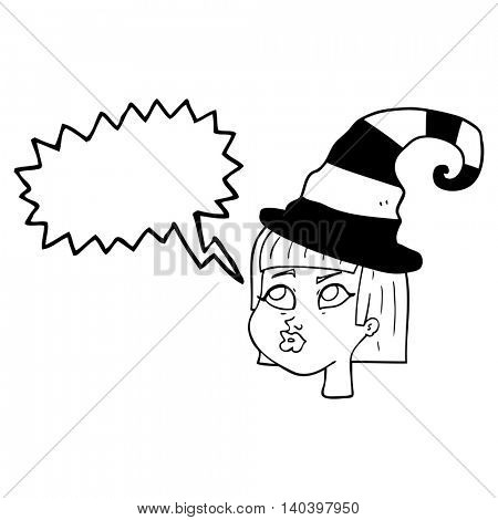 freehand drawn speech bubble cartoon witch