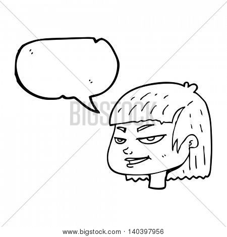 freehand drawn speech bubble cartoon mean looking girl