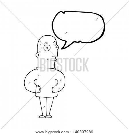freehand drawn speech bubble cartoon content man