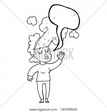 freehand drawn speech bubble cartoon woman letting off steam