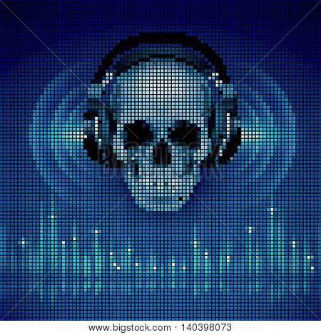 Disco background with skull in headphones equalizer in blue shades. LED display style