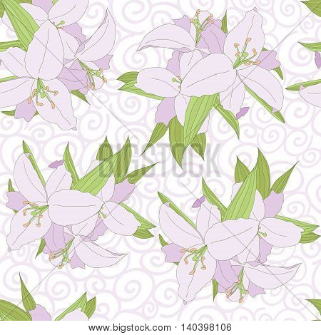 Lily seamless pattern on curl background. vector