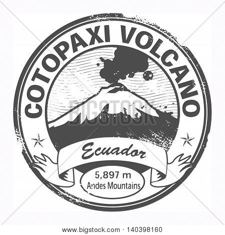 Grunge black stamp with words Cotopaxi Volcano, Ecuador, vector illustration