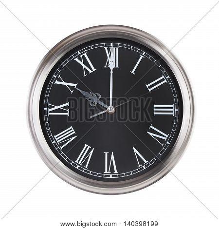 Exactly ten o'clock on a round dial
