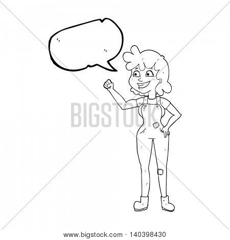 freehand drawn speech bubble cartoon determined woman clenching fist